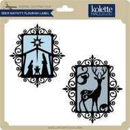 Deer Nativity Flourish Label