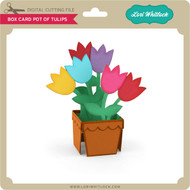 Box Card Pot of Tulips