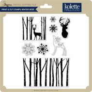Print & Cut Stamps Winter Deer