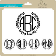 Monogram Basic Happy Holidays Wreath