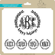Monogram Elaborate Script Happy Holidays Wreath