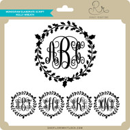 Monogram Elaborate Script Holly Wreath