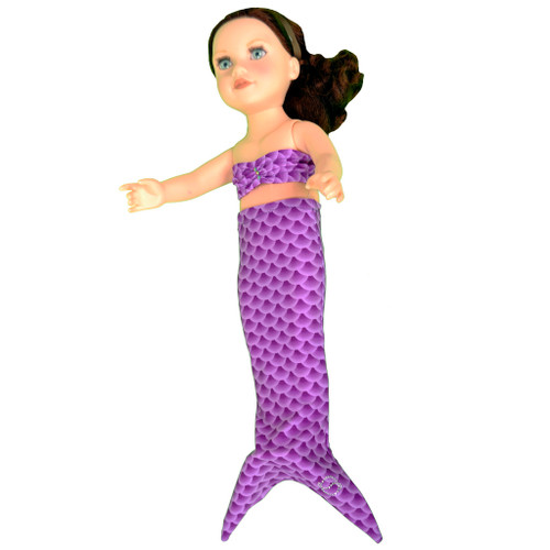 "Purple fish scale scalloped mermaid tail for all 18"" dolls"
