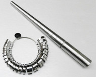 STEEL RING MANDREL & METAL FINGER SIZER SET,  GRADUATED SIZES 1-15