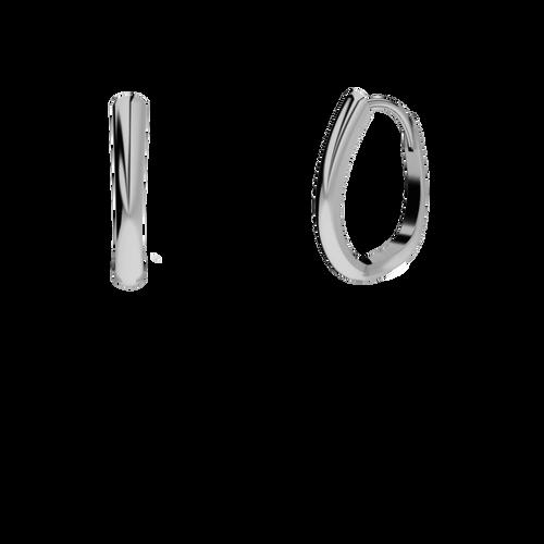 White Gold Drop Hoop Earrings