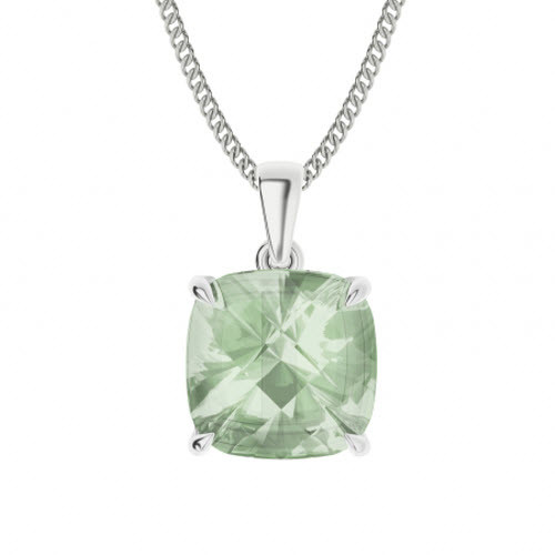 Cushion Checkerboard Green Amethyst Sterling Silver Necklace