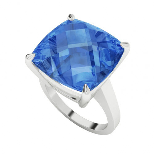 Swiss Blue Topaz Sterling Silver Cocktail Ring