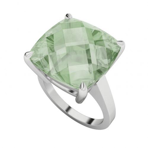 Cushion Checkerboard Green Amethyst Sterling Silver Ring
