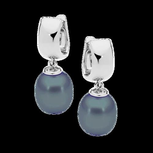 9ct White Gold Black Drop Pearl Earrings