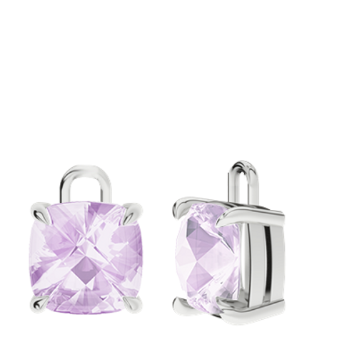Pink Amethyst 9ct White Gold Checkerboard Earrings - Drops Only