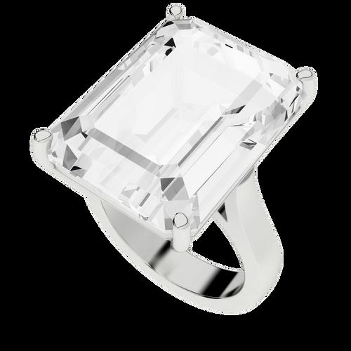 White Quartz Sterling Silver Cocktail Ring