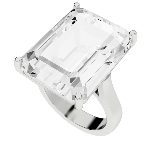 White Sapphire Sterling Silver Cocktail Ring