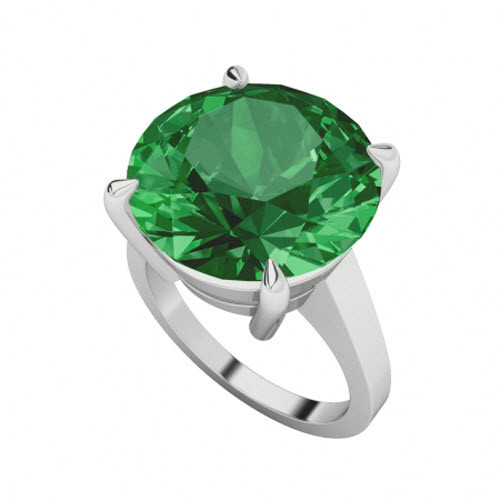 Round Brilliant Cut Emerald Sterling Silver Cocktail Ring