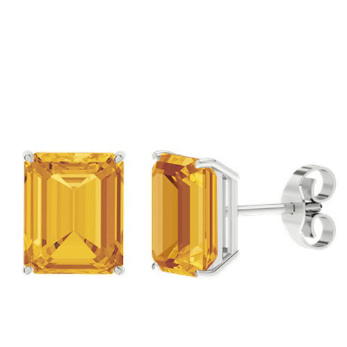 Citrine Emerald Cut Sterling Silver Stud Earrings