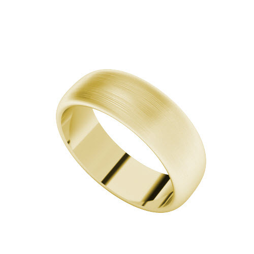 Brushed Wedding Ring with Round Profile (Yellow Gold)