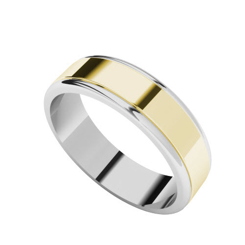 Two-Tone Wedding Ring  - 9ct Yellow Gold with White Gold