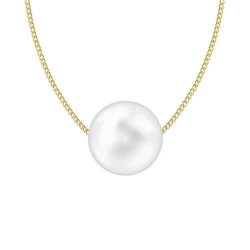 Round Pearl Pendant - 9ct Yellow Gold