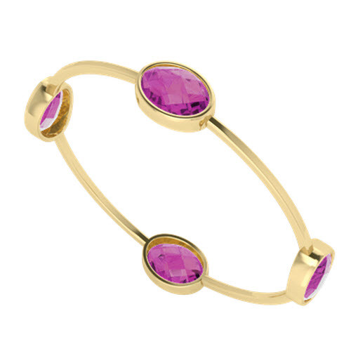 Four Stone Oval Pink Sapphire Bangle Yellow Gold