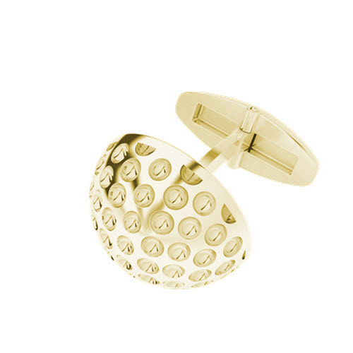 Golf Ball Cufflinks Yellow Gold-Plate