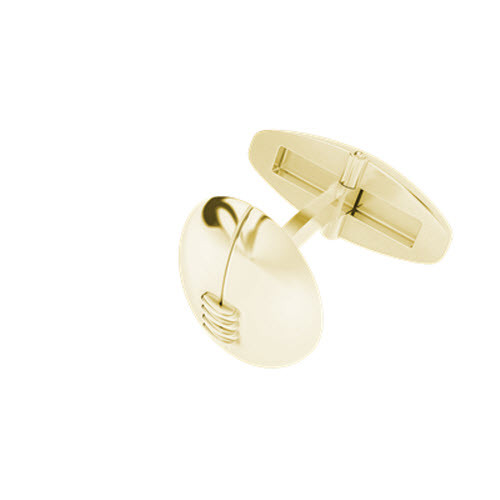 Rugby Ball Cufflinks Yellow Gold-Plate