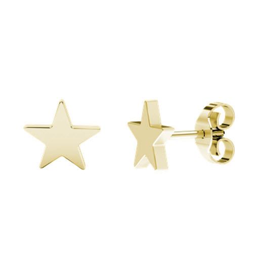 Star Stud Yellow Gold Earrings