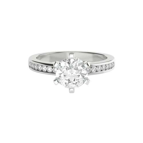 Brilliant Cut 6 Claw Solitaire 14ct White Gold Engagement Ring - 'Valentina'