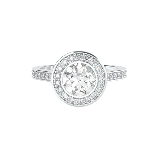 Brilliant Cut Bezel-Set Diamond Halo 14ct White Gold Engagement Ring - 'Venice'