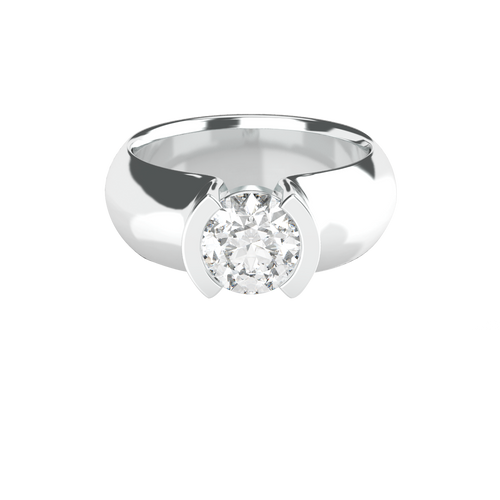 Brilliant Cut Semi-Bezel Solitaire 14ct Engagement Ring - 'Lucia'