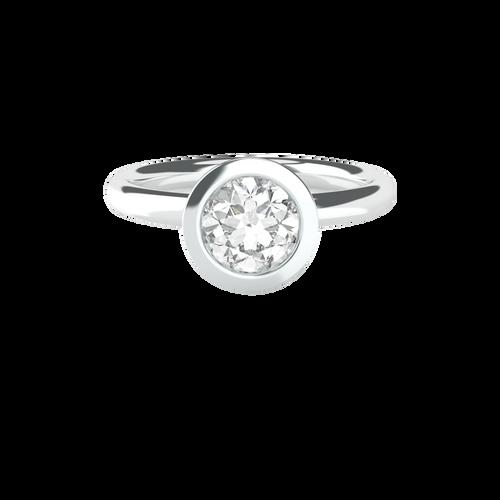 Brilliant Cut Bezel Set Solitaire 14ct White Gold Engagement Ring - 'Belize'