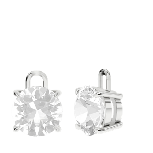 White Quartz Sterling Silver Round Brilliant Earrings - Drops Only