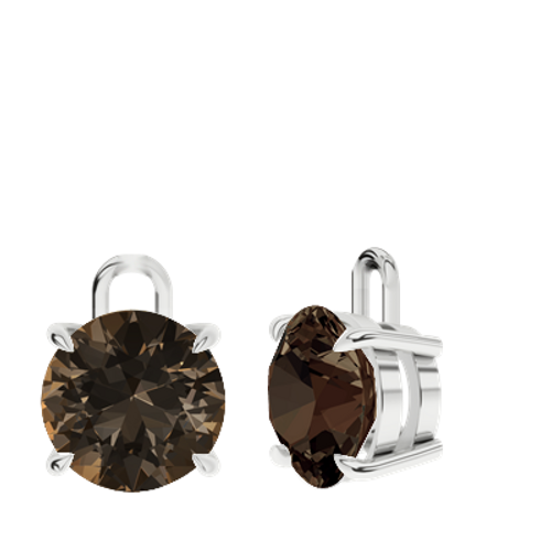 Smoky Quartz Sterling Silver Round Brilliant Earrings - Drops Only