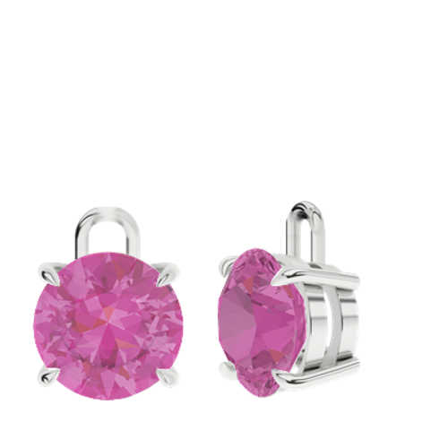 Pink Sapphire Sterling Silver Round Brilliant Earrings - Drops Only