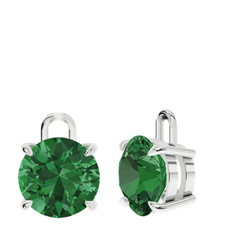 Emerald Sterling Silver Round Brilliant Earrings - Drops Only