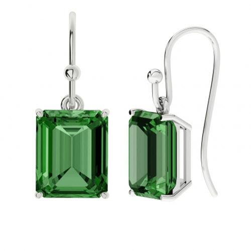 Emerald Sterling Silver Drop Earrings