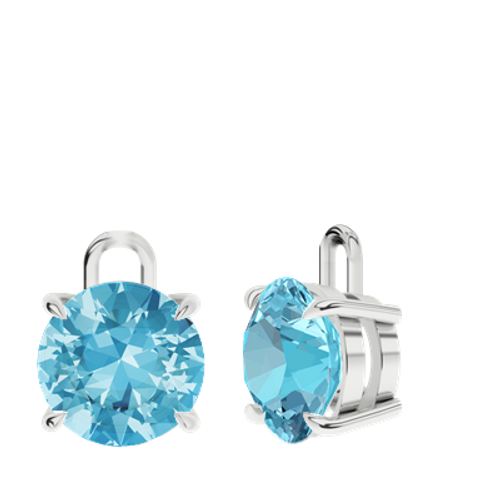 Blue Topaz Sterling Silver Round Brilliant Earrings - Drops Only