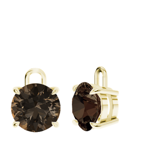 Smoky Quartz 9ct Yellow Gold Round Brilliant Earrings - Drops Only