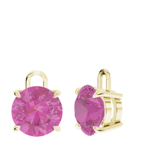 Pink Sapphire 9ct Yellow Gold Round Brilliant Earrings - Drops Only