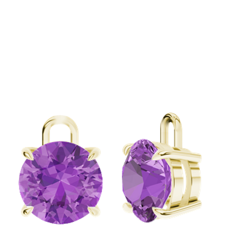 Amethyst 9ct Yellow Gold Round Brilliant Earrings - Drops Only
