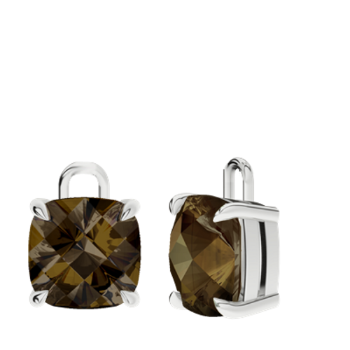 Smoky Quartz Sterling Silver Checkerboard Earrings - Drops Only