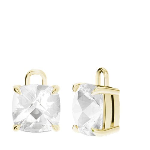 White Quartz 9ct Yellow Gold Checkerboard Earrings - Drops Only