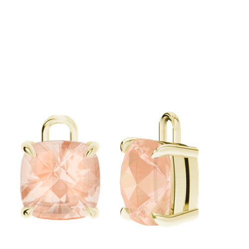 Morganite 9ct Yellow Gold Checkerboard Earrings - Drops Only