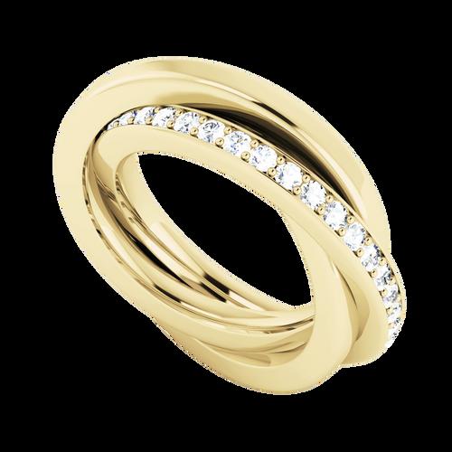 Diamond Russian Wedding Ring - 9ct Yellow Gold