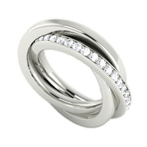 Diamond Russian Wedding Ring - 9ct White Gold