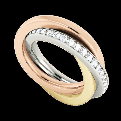 Diamond Russian Wedding Ring - 9ct Multi Gold