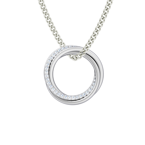Diamond Russian Ring Necklace - the 'Elizabeth' - 9ct White Gold