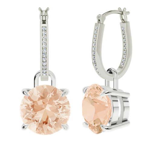 White gold and diamond hoop earrings with morganite drops
