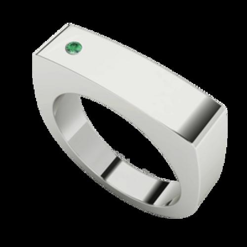 Men's Rectangular Signet Ring Silver - Emerald