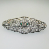 Vintage Ostby Barton Sterling Silver White & Green Rhinestone Filigree Pin Brooch