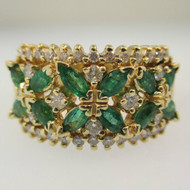 14k Yellow Gold Emerald Ring with Approx .50ct TW Diamond Accents Size 9 1/4