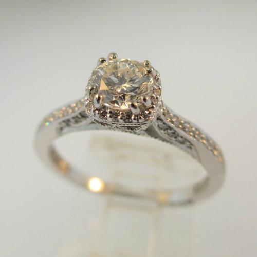 18k White Gold Tacori .44ct Round Brilliant Cut Diamond Ring with Halo Filigree and Diamond Accents Size 6 1/2